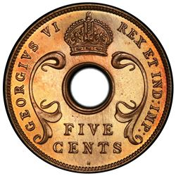 EAST AFRICA: George VI, 1937-1952, AE 5 cents, 1937-H. PCGS SP66