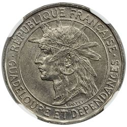 GUADELOUPE: French Colony, 1 franc, 1921. NGC MS64