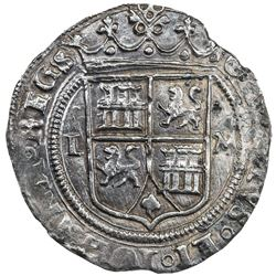 MEXICO: Carlos and Johanna, 1516-1556, AR real (3.31g), ND [1542-55]. AU