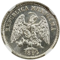 MEXICO: Republic, AR 5 centavos, 1892-Mo. NGC MS64