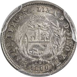 PERU: AR 1/2 real, 1860 LIMA. PCGS MS66