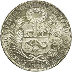 PERU: Republic, AR sol, 1885. PCGS MS64