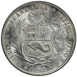 PERU: Republic, AR sol, 1891. PCGS MS64