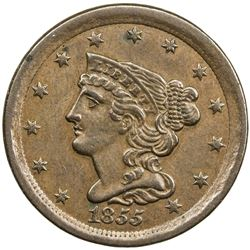 UNITED STATES: ½ cent (5.44g), 1855, EF, Coronet Head 1/2C, Braided Hair series