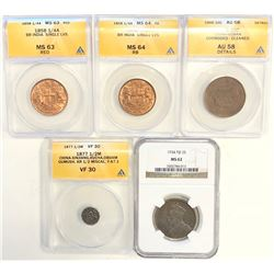 WORLDWIDE: LOT of 5 slabbed coins