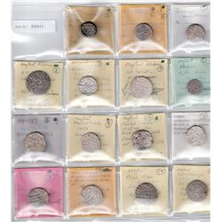 MUGHAL: LOT of 15 pieces (silver rupee unless noted)