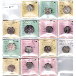 MUGHAL: LOT of 14 silver rupees
