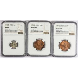 BRITISH INDIA: LOT of 6 coins graded by NGC