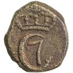 "TRANQUEBAR: Christian VII, 1766-1808, AE 4 kas (2.49g), ""1752"" (error for 1782). VF"