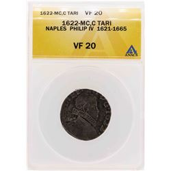 1622-MC C Tari Naples Philip IV Coin ANACS VF20