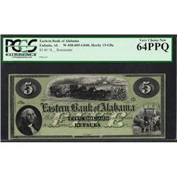 1800's $5 The Eastern Bank of Alabama Obsolete Bank Note PCGS Very Choice New 64