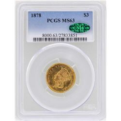 1878 $3 Indian Princess Head Gold Coin PCGS MS63 CAC
