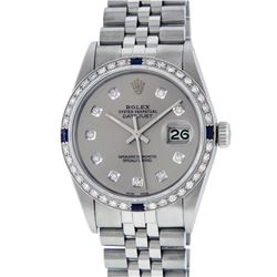 Rolex Men's Stainless Steel Gray Diamond & Sapphire 36MM Datejust Wristwatch