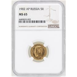 1902 AP Russia 5 Rubles Gold Coin NGC MS65