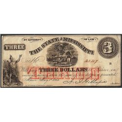 1864 $3 The State of Mississippi Obsolete Note