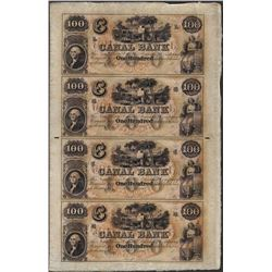 Uncut Sheet of 1800's $100 Canal Bank Obsolete Notes