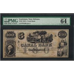 1850's $100 Canal Bank New Orleans Obsolete Note PMG Choice Uncirculated 64EPQ