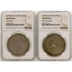 Lot of (2) 1899 Mexico Pesos Silver Coins NGC Graded AU Details