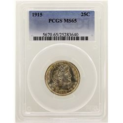1915 Barber Quarter Silver Coin PCGS MS65