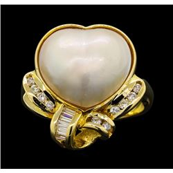 14KT Yellow Gold Mabe Pearl and Diamond Ring