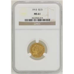 1913 $2 1/2 Indian Head Quarter Eagle Gold Coin NGC MS61