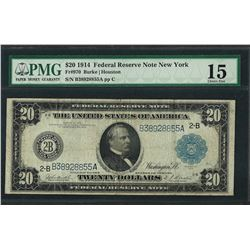 1914 $20 Federal Reserve Note New York Fr.970 PMG Choice Fine 15