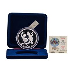 1988 Rarities Mint Walt Disney Donald & Daisy 5 oz .999 Silver Coin w/Box & COA