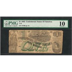 1862 $1 Confederate States of America Note T-45 PMG Very Good 10