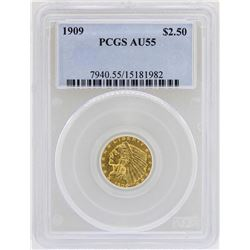 1909 $2 1/2 Indian Head Quarter Eagle Gold Coin PCGS AU55