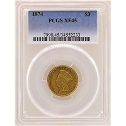 1875 $3 Indian Princess Head Gold Coin PCGS XF45