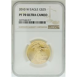 2010-W $25 American Gold Eagle Coin NGC PF70 Ultra Cameo