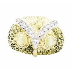 18KT Yellow Gold 0.80 ctw Cat's Eye Chrysoberyl and Diamond Ring
