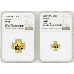 Lot of (2) 2016 China Gold Panda Coins NGC MS70
