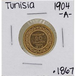 1904-A Tunisia 20 Francs Gold Coin
