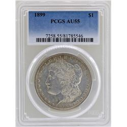 1899 $1 Morgan Silver Dollar Coin PCGS AU55