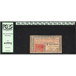 March 25, 1776 New Jersey 30 Shillings Colonial Currency Note PCGS 61PPQ