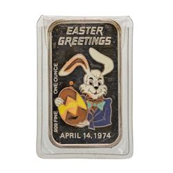 1974 Easter Greetings 1 oz .999 Fine Silver Enamel Art Bar