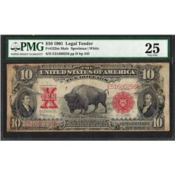 1901 $10 Bison Legal Tender Note Fr.122m PMG Very Fine 25