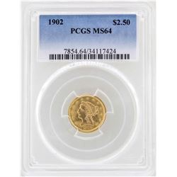 1902 $2 1/2 Liberty Head Quarter Eagle Gold Coin PCGS MS64