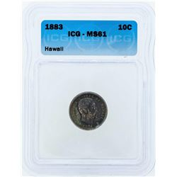 1883 Kingdom of Hawaii Silver Dime Coin ICG MS61
