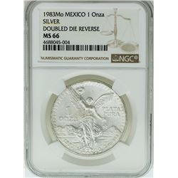 1983MO Mexico 1 Onza Silver Libertad Doubled Die Reverse Coin NGC MS66