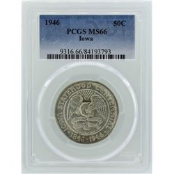 1946 Iowa Centennial Commemorative Half Dollar Coin PCGS MS66