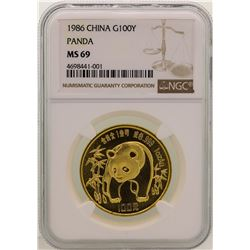 1986 China 100 Yuan Gold Panda Coin NGC MS69