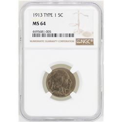 1913 Type 1 Buffalo Nickel Coin NGC MS64