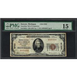 1929 $20 National Currency Note Detroit, Michigan CH# 8703 PMG Choice Fine 15