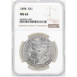 1898 $1 Morgan Silver Dollar Coin NGC MS63