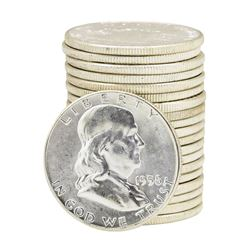 Roll of (20) 1958 Brilliant Uncirculated Franklin Half Dollars