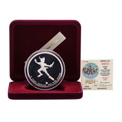 1988 Rarities Mint Walt Disney Peter Pan 5oz .999 Silver Coin w/Box & COA