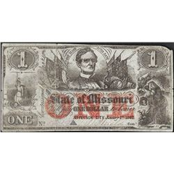 1862 $1 State of Missouri Obsolete Note on Blue Paper