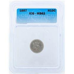 1857 Seated Liberty Half Dime Coin ICG MS62